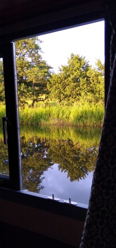 The morning view out of my window- living off-grid on a narrowboat.